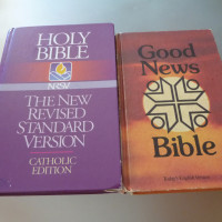 Bibles (x2), Dictionaries (x2), Chemistry One and Two, Poetry books (x2)